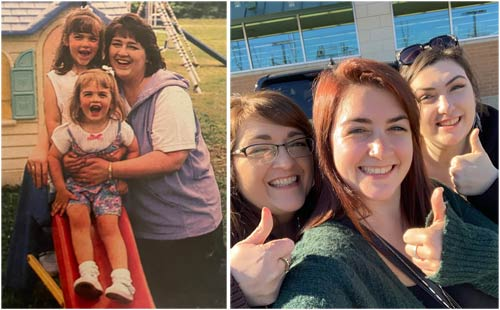 Deneen and her girls - then and now